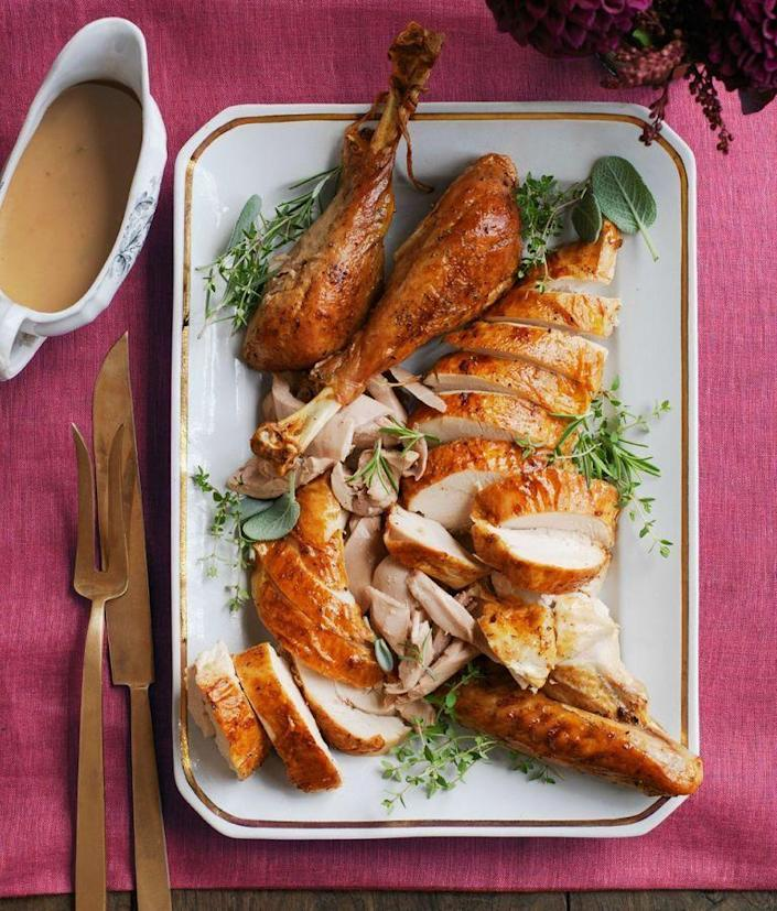 "<p>Make this classic recipe all year-round, whenever you're up for lots of leftovers and fully satisfied family members.<br></p><p><a href=""https://www.womansday.com/food-recipes/food-drinks/recipes/a52084/garlic-and-herb-roasted-turkey/"" rel=""nofollow noopener"" target=""_blank"" data-ylk=""slk:Get the"" class=""link rapid-noclick-resp""><em>Get the </em></a><em><a href=""https://www.womansday.com/food-recipes/food-drinks/recipes/a52084/garlic-and-herb-roasted-turkey/"" rel=""nofollow noopener"" target=""_blank"" data-ylk=""slk:Garlic and Herb Roasted Turkey recipe."" class=""link rapid-noclick-resp"">Garlic and Herb Roasted Turkey recipe. </a></em></p>"