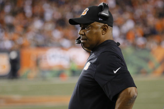 Bengals coach Marvin Lewis made a change on his staff after an 0-2 start, letting go offensive coordinator Ken Zampese. (AP)