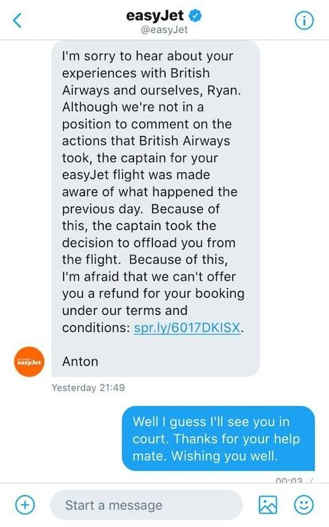 EasyJet refunded Hawaii after he threatened court action - Credit: @RYAN_HAWAII/Twitter