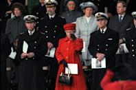 """<p>To bid a teary farewell to the <a href=""""https://www.townandcountrymag.com/society/tradition/a23456210/royal-yacht-britannia-history/"""" rel=""""nofollow noopener"""" target=""""_blank"""" data-ylk=""""slk:royal family's beloved yacht"""" class=""""link rapid-noclick-resp"""">royal family's beloved yacht</a>, the Britannia, the Queen chose a bold red outfit. </p>"""