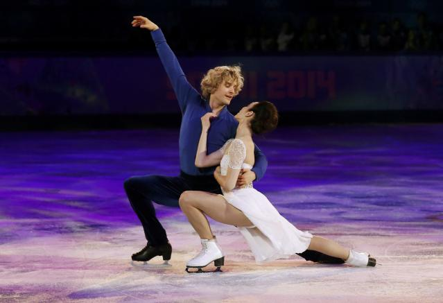 <p>Meryl Davis and Charlie White of the U.S. captured gold in Sochi, the first American ice dancing pair to win the Olympic title. They've since retired from competition, but continue skating in ice shows. White is now married to 2006 Olympic silver medalist Tanith Belbin and has a son with her. </p>