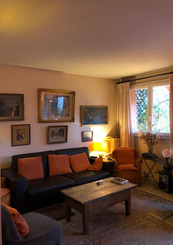 """<div class=""""caption""""> <strong>BEFORE:</strong> The homeowner saw the potential in her apartment despite all the furniture and busy carpets. </div>"""