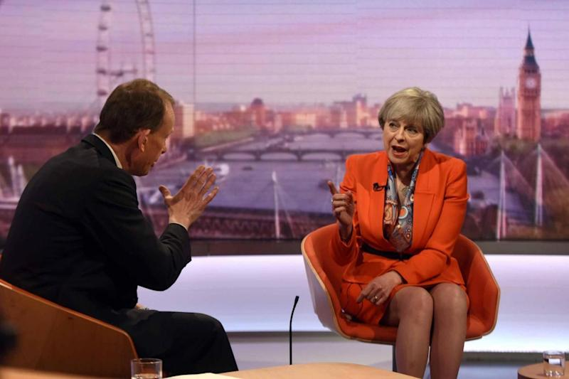 Prime Minister Theresa May appearing on the BBC's Andrew Marr show (PA)