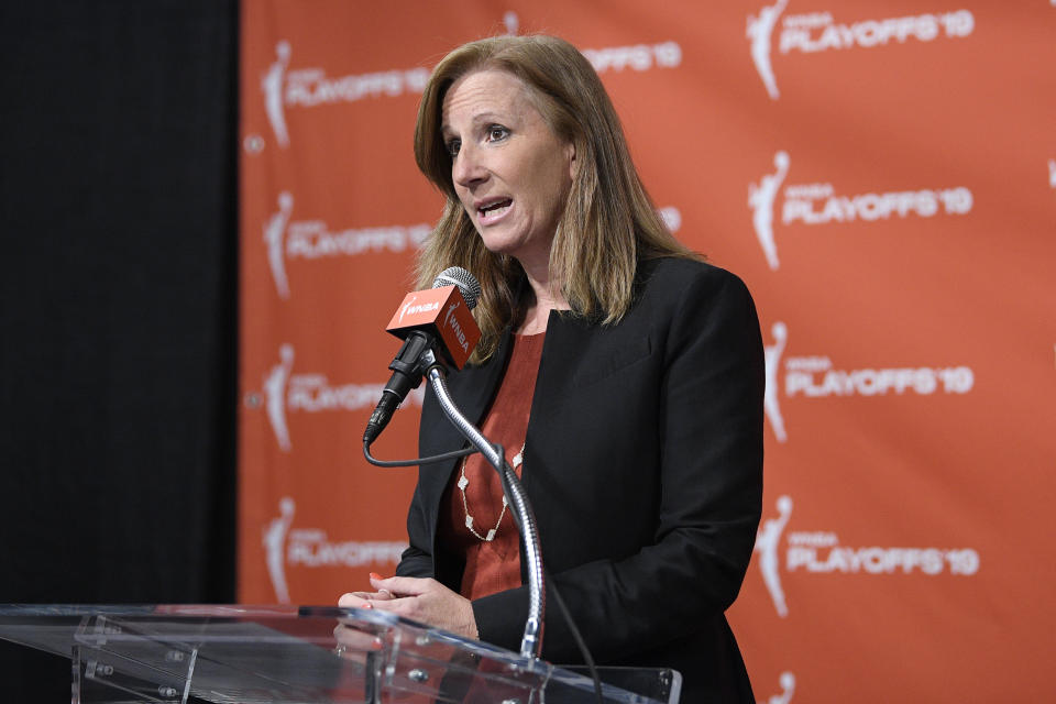 WNBA Commissioner Cathy Engelbert speaks at a press conference where Washington Mystics forward Elena Delle Donne was named the 2019 WNBA most valuable player, Thursday, Sept. 19, 2019, in Washington. (AP Photo/Nick Wass)
