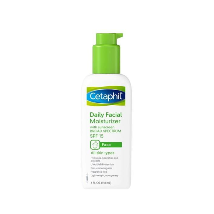 """&ldquo;When I need something quick to throw on because I&rsquo;m running an errand and will have short exposure to the sun, I use Cetaphil Daily Facial Moisturizer with Sunscreen Broad Spectrum SPF 15. It absorbs nice and quickly and doesn&rsquo;t feel like it just sits on your skin.&rdquo; <i>― Brittany Wong<br><br></i><strong>Get the <a href=""""https://www.amazon.com/Cetaphil-Moisturizer-Sunscreen-Spectrum-Fragrance/dp/B001ET73D8/ref=cm_cr_arp_d_product_top?ie=UTF8&amp;th=1&amp;tag=thehuffingtop-20"""" rel=""""nofollow noopener"""" target=""""_blank"""" data-ylk=""""slk:Cetaphil Daily Facial Moisturizer with SPF 15"""" class=""""link rapid-noclick-resp"""">Cetaphil Daily Facial Moisturizer with SPF 15</a> for $21.67.</strong>"""