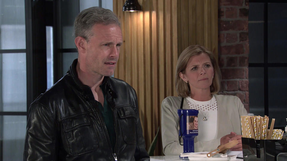 FROM ITV  STRICT EMBARGO - No Use Before Tuesday 3rd August 2021  Coronation Street - Ep 10401  Wednesday 11th August 2021 - 2nd Ep  Debbie Webster [SUE DEVANEY] tells Nick Tilsley [BEN PRICE] and Leanne Battersby [JANE DANSON] that sheÕd be willing to sell them 50% of the business but when she reveals how much she wants, Leanne tells her to whistle.  Picture contact David.crook@itv.com   Photographer - Danielle Baguley  This photograph is (C) ITV Plc and can only be reproduced for editorial purposes directly in connection with the programme or event mentioned above, or ITV plc. Once made available by ITV plc Picture Desk, this photograph can be reproduced once only up until the transmission [TX] date and no reproduction fee will be charged. Any subsequent usage may incur a fee. This photograph must not be manipulated [excluding basic cropping] in a manner which alters the visual appearance of the person photographed deemed detrimental or inappropriate by ITV plc Picture Desk. This photograph must not be syndicated to any other company, publication or website, or permanently archived, without the express written permission of ITV Picture Desk. Full Terms and conditions are available on  www.itv.com/presscentre/itvpictures/terms