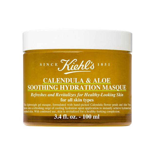 "<p>This cools-on-contact formula is probably the most gentle of the bunch, thanks to soothing aloe vera and hydrating calendula. Together, the two powerhouse ingredients make for one seriously moisturizing mask.</p><p>$45 (<a href=""https://shop-links.co/1626912127126774938?mbid=synd_yahoolife"" rel=""nofollow noopener"" target=""_blank"" data-ylk=""slk:Shop Now"" class=""link rapid-noclick-resp"">Shop Now</a>)</p>"