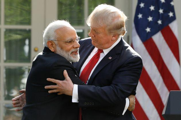 Prime Minister Narendra Modi and US President Donald Trump as they give joint statements in the Rose Garden of the White House on June 26, 2017.