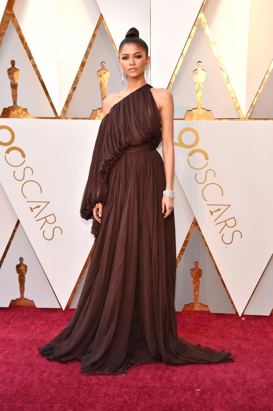 <p>For the main 2018 Oscars red carpet, she donned this chocolate Giambattista Valli Couture gown.</p>