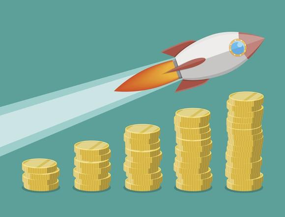 A cartoon of a rocket ship flying over ascending columns of coins.