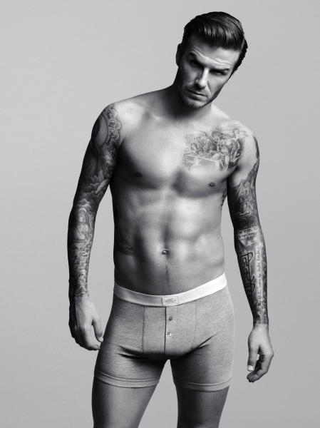 "FILE - This undated product photo provided by H&M shows a look from an underwear collection created and modeled by soccer star David Beckham. Beckham says he's in the underwear game for the long haul, looking forward to advancing his bodywear partnership with H&M. The soccer star's second set of ads for his branded collection launch Thursday. They'll coincide with a ""statue stunt"" planned by the retailer with larger-than-life Beckhams going up in New York, Los Angeles and San Francisco. (AP Photo/H&M, Alasdair McLellan)"