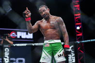 Bubba Jenkins gestures during a Professional Fighters League mixed martial arts bout against Bobby Moffett in Atlantic City, N.J., Thursday, June 10, 2021. (AP Photo/Matt Rourke)