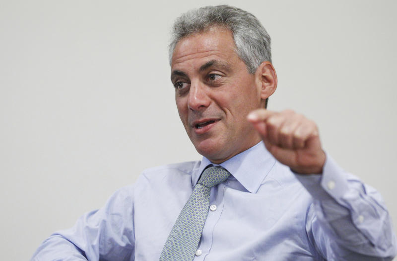 FILE - In this Aug. 9, 2011 file photo, Chicago Mayor Rahm Emanuel speaks during an interview with The Associated Press at his office in Chicago. On Wednesday, Feb. 22, 2012, a spokeswoman says Emanuel is against putting Muslims under surveillance as was done in New York and New Jersey by New York police officers. The comments were made after The Associated Press reported that plainclothes NYPD officers took photographs and eavesdropped on conversations inside Muslim businesses in Newark, N.J., while Chicago Police Superintendent Garry McCarthy headed the Newark force. (AP Photo/M. Spencer Green, File)