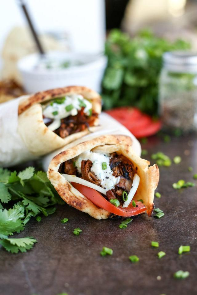 """<p>Listen up, gyro lovers: This vegan version has a jackfruit and <a href=""""http://www.drozthegoodlife.com/healthy-food-nutrition/healthy-recipe-ideas/recipes/a1615/meaty-mushroom-tacos/"""" rel=""""nofollow noopener"""" target=""""_blank"""" data-ylk=""""slk:mushroom filling"""" class=""""link rapid-noclick-resp"""">mushroom filling</a> you won't regret giving a try.</p><p>Grab the recipe from <a href=""""http://www.ilovevegan.com/vegan-jackfruit-mushroom-gyros-with-tzatziki/"""" rel=""""nofollow noopener"""" target=""""_blank"""" data-ylk=""""slk:I Love Vegan"""" class=""""link rapid-noclick-resp"""">I Love Vegan</a>.</p>"""