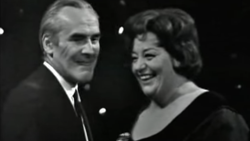 John Le Mesurier and Hattie Jacques present a united front on This Is Your Life. (BBC)