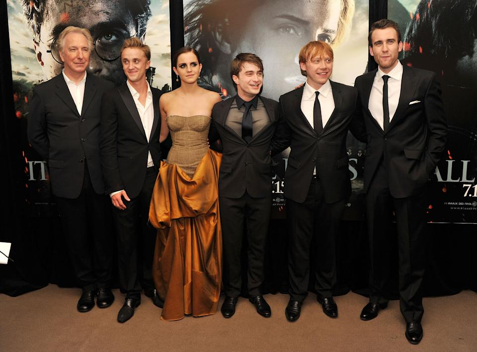 (L-R) Alan Rickman, Tom Felton, Emma Watson, Daniel Radcliffe, Rupert Grint and Matthew Lewis attend the New York premiere of