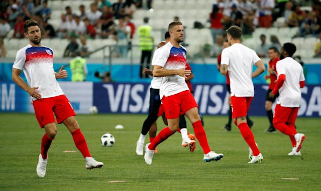 Soccer Football - World Cup - Group G - Tunisia vs England - Volgograd Arena, Volgograd, Russia - June 18, 2018 England's Gary Cahill and Jordan Henderson warm up before the match REUTERS/Jorge Silva