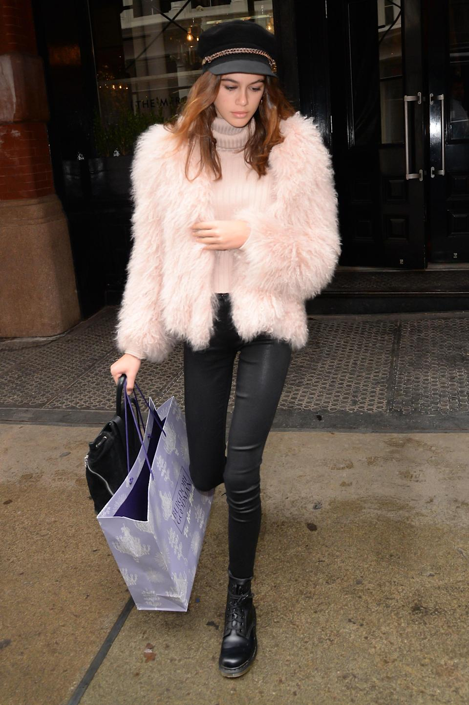 A different look from Kaia that screams 2017 was this fluffy jacket + hat moment.