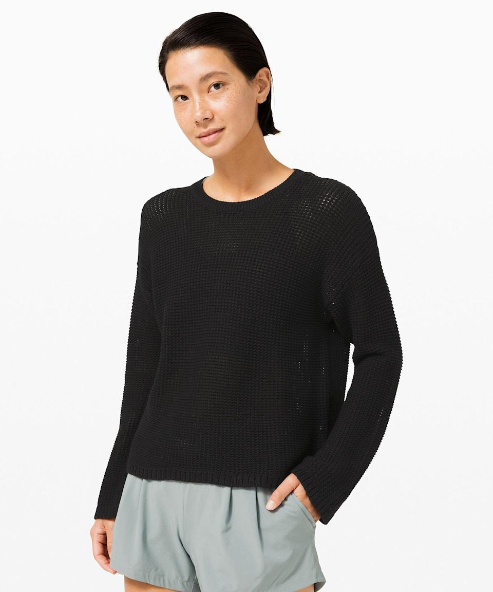 """<p><strong>Lululemon</strong></p><p>lululemon.com</p><p><a href=""""https://go.redirectingat.com?id=74968X1596630&url=https%3A%2F%2Fshop.lululemon.com%2Fp%2Fwomen%2FEasy-Embrace-Long-Sleeve-Sweater-MD%2F_%2Fprod10080159&sref=https%3A%2F%2Fwww.seventeen.com%2Ffashion%2Fg34041215%2Flululemon-black-friday-deals-2020%2F"""" rel=""""nofollow noopener"""" target=""""_blank"""" data-ylk=""""slk:Shop Now"""" class=""""link rapid-noclick-resp"""">Shop Now</a></p><p><strong><del>$138</del> $99 (28% off) </strong></p><p>Today is the day to invest in a versatile sweater you'll have for years. This cozy knit is on sale for $39 off its original price.<br></p>"""