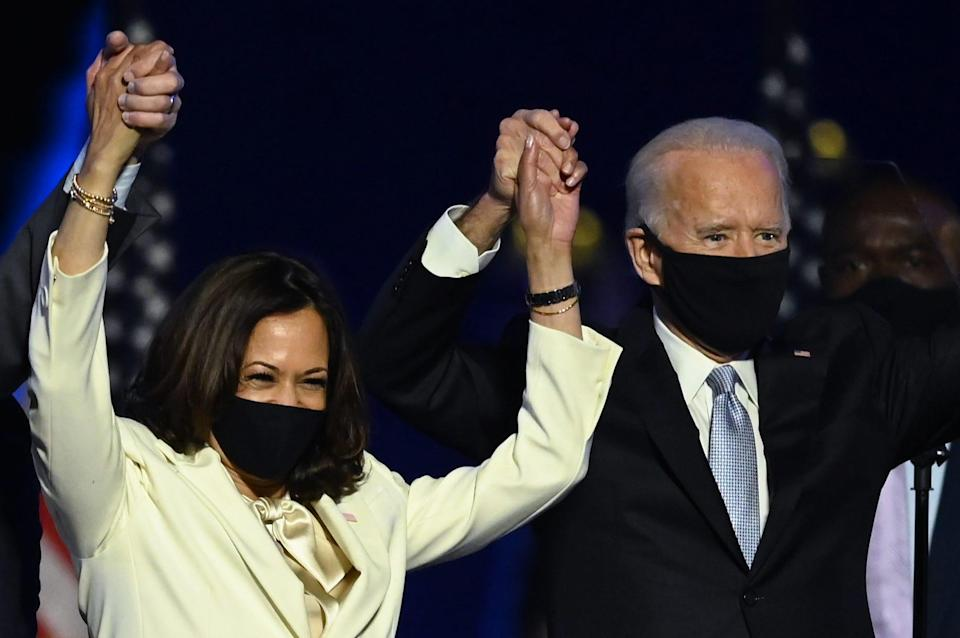 President-elect Joe Biden and Vice President-elect Kamala Harris celebrate their victory in Wilmington, Delaware on Nov. 7, 2020.