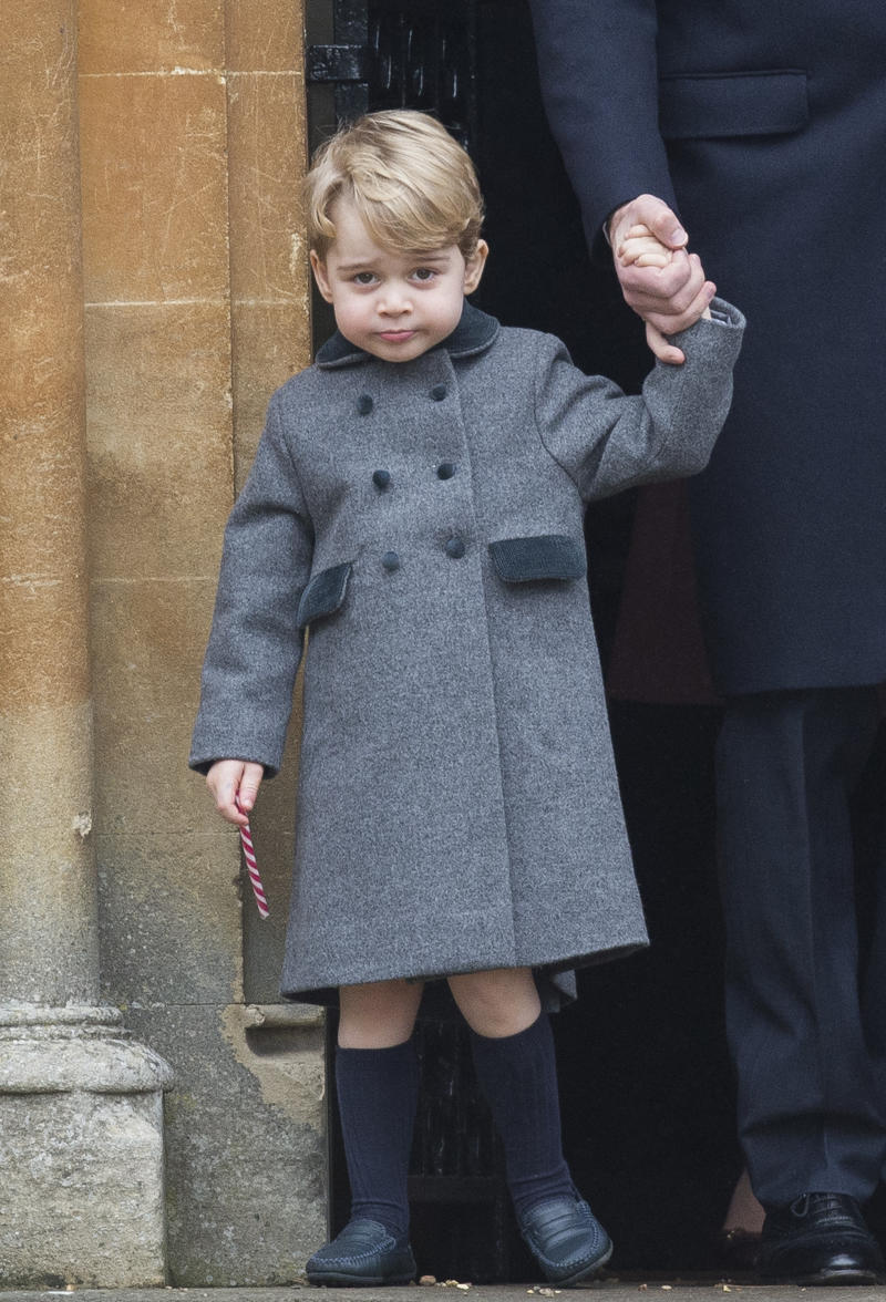 BUCKLEBURY, BERKSHIRE - DECEMBER 25: Prince George of Cambridge attends Church on Christmas Day on December 25, 2016 in Bucklebury, Berkshire. (Photo by Samir Hussein/Samir Hussein/WireImage)
