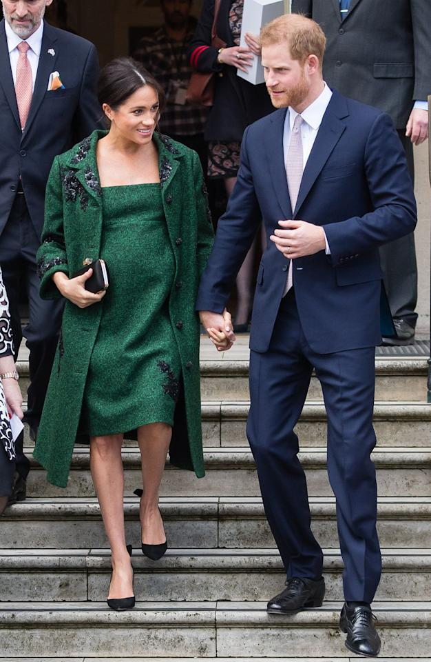 "<p>For the Duke and Duchess's visit to Canada House on Commonwealth Day, Meghan wore a dark green jacket and dress with sequin detailing that was <a rel=""nofollow"" href=""https://www.net-a-porter.com/us/en/Shop/Designers/Erdem?"">custom made by Erdem</a>, <a rel=""nofollow"" href=""https://www.gettyimages.com/detail/news-photo/prince-harry-duke-of-sussex-and-meghan-duchess-of-sussex-news-photo/1135098814"">Aquazzura heels</a> and a <a rel=""nofollow"" href=""https://www.townandcountrymag.com/style/fashion-trends/g3272/meghan-markle-preppy-style/?slide=67"">Givenchy clutch</a>.  </p><p><a rel=""nofollow"" href=""https://shop.nordstrom.com/s/aquazzura-deneuve-bow-pointy-toe-pump-women/4948641"">Shop Now</a><em>Deneuve Pumps, Aquazzura, $750</em></p>"