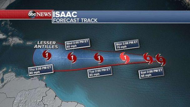 PHOTO: Isaac is forecast to strengthen into a hurricane as it moves toward the Caribbean. (ABC News)