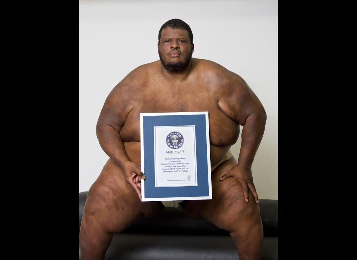 The heaviest living athlete in the world is sumo wrestler Emmanuel 'Manny' Yarborough, of Rahway, New Jersey. He stands 6ft 8in tall and weighs a colossal 704lb. He was introduced to the sport by his judo coach and seven years later, he is ranked number one in the Open Sumo Wrestling Category for Amateurs.