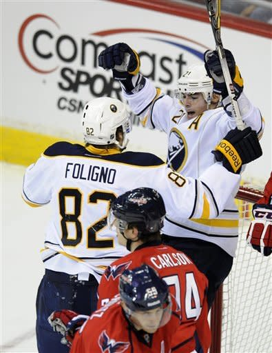 Buffalo Sabres right wing Drew Stafford (21) celebrates his goal with teammate Buffalo Sabres left wing Marcus Foligno (82) as Washington Capitals defenseman John Carlson (74) looks on during the first period of an NHL hockey game, Tuesday, March 27, 2012, in Washington. (AP Photo/Nick Wass)