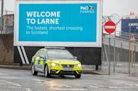 The EU and regional agriculture ministry pulled staff from the ports of Belfast and Larne after graffiti appeared