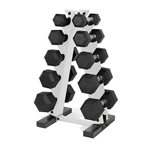 """<p><strong>CAP Barbell</strong></p><p>amazon.com</p><p><strong>$336.51</strong></p><p><a href=""""https://www.amazon.com/dp/B085M3HGWS?tag=syn-yahoo-20&ascsubtag=%5Bartid%7C2139.g.36132587%5Bsrc%7Cyahoo-us"""" rel=""""nofollow noopener"""" target=""""_blank"""" data-ylk=""""slk:BUY IT HERE"""" class=""""link rapid-noclick-resp"""">BUY IT HERE</a></p><p>Every home gym needs a solid set of dumbbells. And right now, you can score 30% off the entire set (including the vertical, space-saving rack) from CAP Barbell. The vertical hexagon shape is a nice detail to keep them from rolling. </p>"""