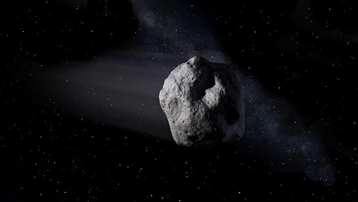 An illustration shows a near-Earth asteroid like asteroid 2020 SW traveling through space.