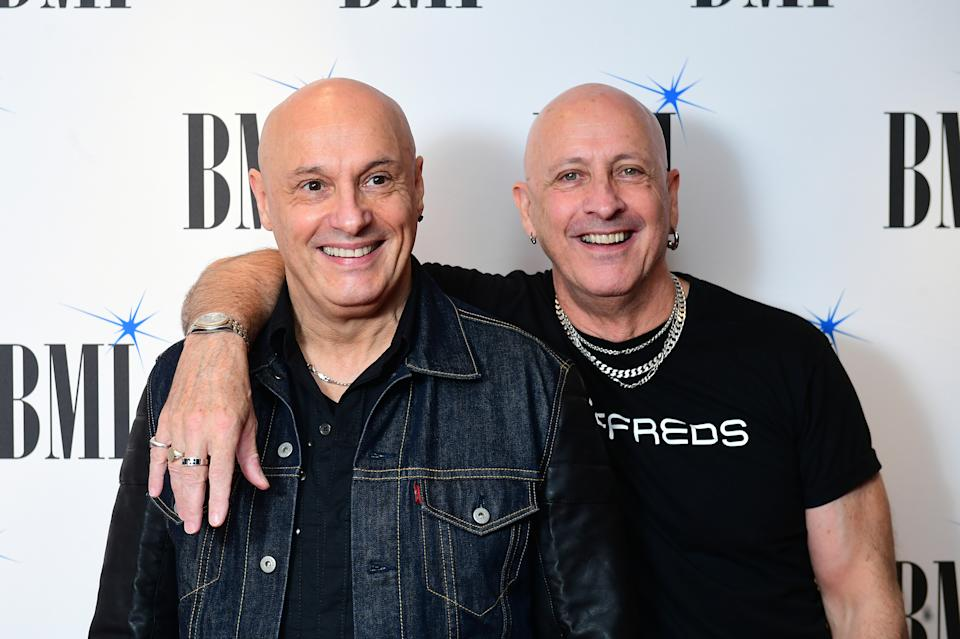 Fred and Richard Fairbrass of Right Said Fred arriving for the BMI London Awards 2018 at the Dorchester Hotel, central London (Photo by Ian West/PA Images via Getty Images)