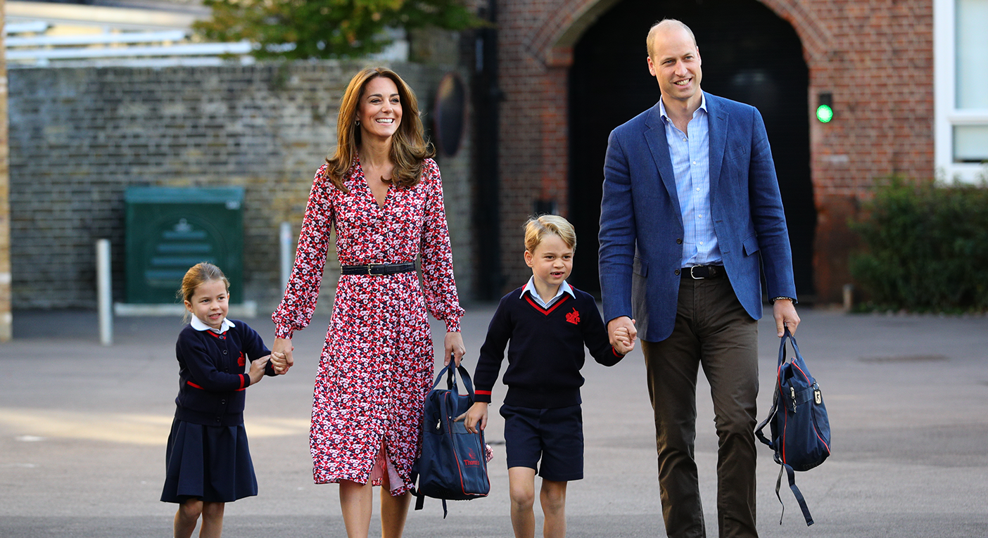 The Duke and Duchess of Cambridge drop off Princess Charlotte of her first day of school along with Prince George [Photo: Getty Images]