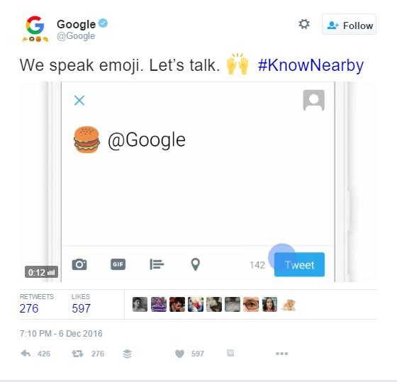 Looking for a nearby place to eat? Just tweet Google an emoji