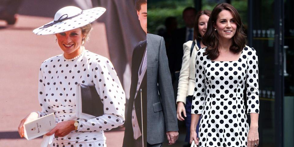 <p>Diana at the Royal Ascot race in Ascot, England, on June 15, 1988; Kate on the first day of the 2017 Wimbledon. </p>