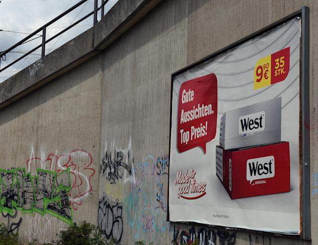 A tobacco ad poster on an underpass in Düsseldorf, Germany. Photo: Horst Ossinger/Picture alliance via Getty