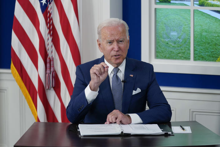 President Biden at the White House on Wednesday, participating in a virtual COVID-19 summit of the U.N. General Assembly.