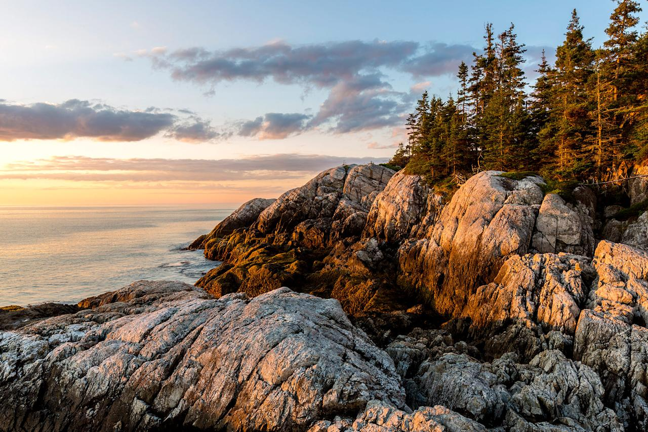 "<p><a href=""https://www.nps.gov/acad/index.htm"">Acadia National Park</a> on Mount Desert Island has a fine network of hiking trails that traverse the preserve. They crisscross rocky cliffs, gentle meadows, sand and rocky beaches, and dense evergreen forests. Great Head Trail, <a href=""https://www.marthastewart.com/7617677/benefits-sunrise-hiking-like-martha"">which happens to be one of Martha's favorites</a>, is 1.3 miles long and takes about an hour and a half to complete. The trail starts at Sand Beach and then goes up a total of 324 feet for spectacular views of an estuary, the outer islands, and the Atlantic Ocean.</p>"