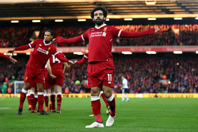 Mo Salah celebrates his early goal for Liverpool against Tottenham at Anfield. (Getty)