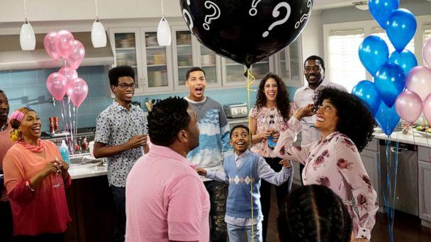 PHOTO: Characters attend a gender reveal party on a 2016 episode of the ABC show, 'Black-ish.' (Walt Disney Television via Getty)