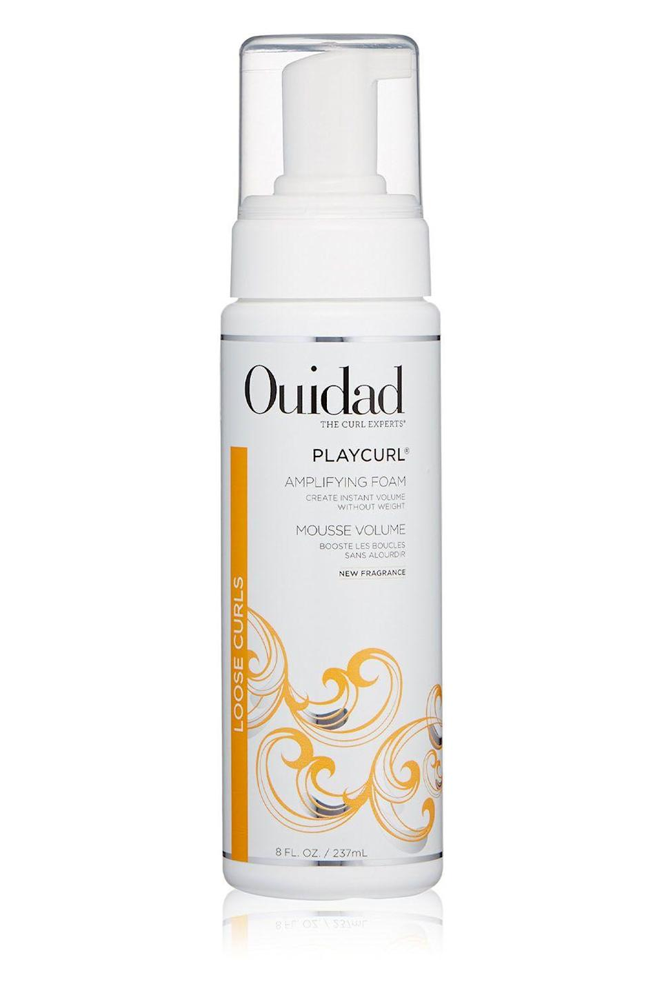 """<p><strong>Ouidad</strong></p><p>ulta.com</p><p><strong>$20.80</strong></p><p><a href=""""https://www.ulta.com/playcurl-volumizing-foam?productId=xlsImpprod3780017"""" rel=""""nofollow noopener"""" target=""""_blank"""" data-ylk=""""slk:Shop Now"""" class=""""link rapid-noclick-resp"""">Shop Now</a></p><p>This foaming mousse will give your fine curls the volume and definition of your dreams. Its lightweight formula helps moisturize strands to add shine and smooth flyaways, while <strong>somehow (magic? Sorcery? No, polymers) giving your curls root-boosting volume</strong>. Scrunch and twirl a golf-ball sized puff through damp-not wet-hair, from roots to tips, then diffuse or air-dry.</p>"""