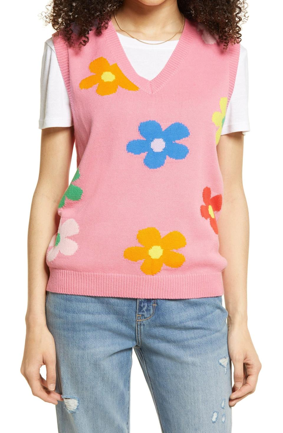 <p>Style this <span>Be Proud By BP Daisy Gender Inclusive Sweater Vest</span> ($45) with a cute tennis skirt or your favorite denim shorts.</p>