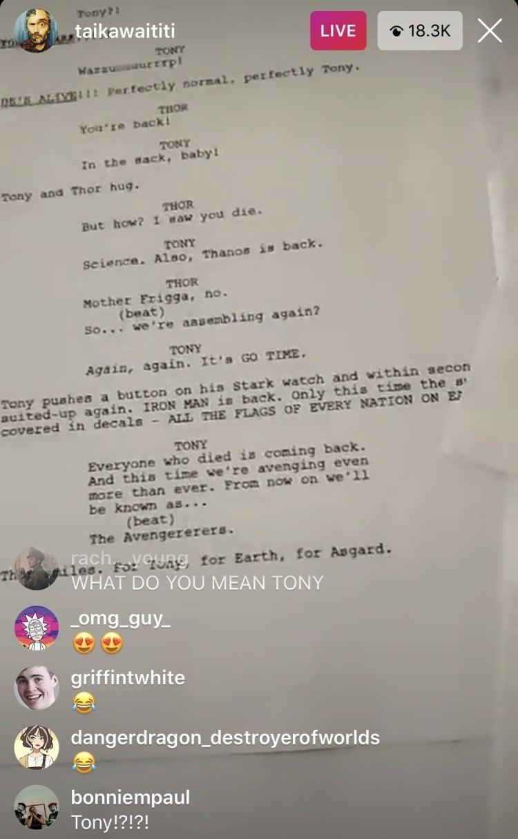 Taika Waititi shared a fake script for 'Thor: Love and Thunder' on Instagran. (Credit: Instagram)