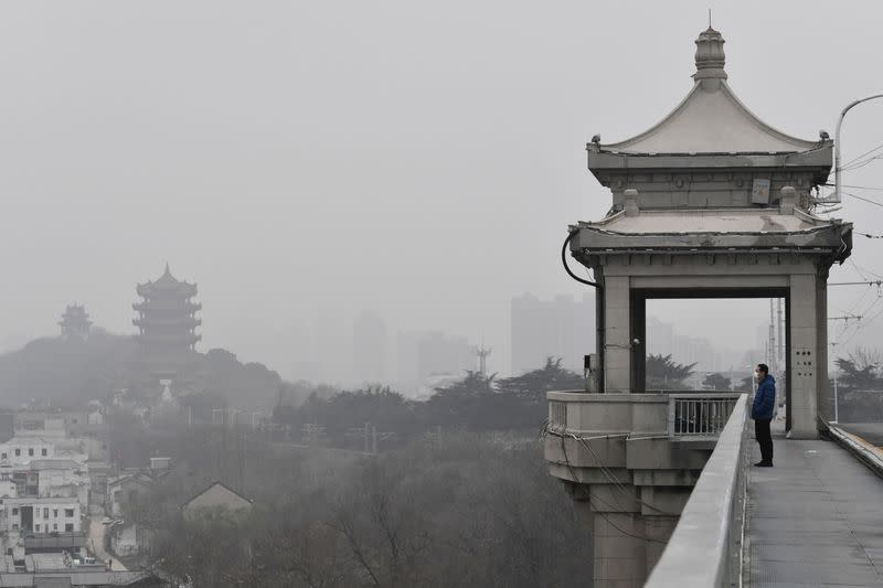 Man wearing a face mask looks on from a bridge near the Yellow Crane Tower in Wuhan, the epicentre of the novel coronavirus outbreak