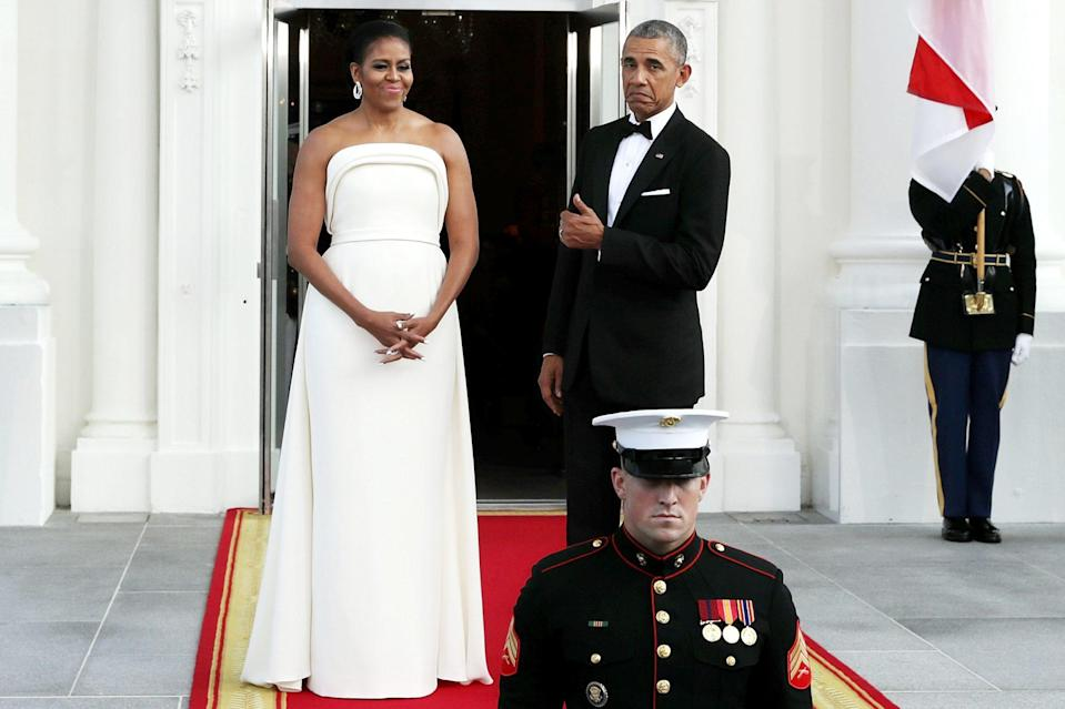 """<p>Even as the President of the United States, Barack knows that his wife is always the star!</p> <p>""""There's no doubt I'm a better man having spent time with Michelle,"""" he told <a href=""""https://www.vogue.com/article/michelle-obama-leading-by-example#1"""" rel=""""nofollow noopener"""" target=""""_blank"""" data-ylk=""""slk:Vogue"""" class=""""link rapid-noclick-resp""""><em>Vogue </em></a>in 2013, """"I would never say that Michelle's a better woman, but I will say she's a little more patient.""""</p>"""