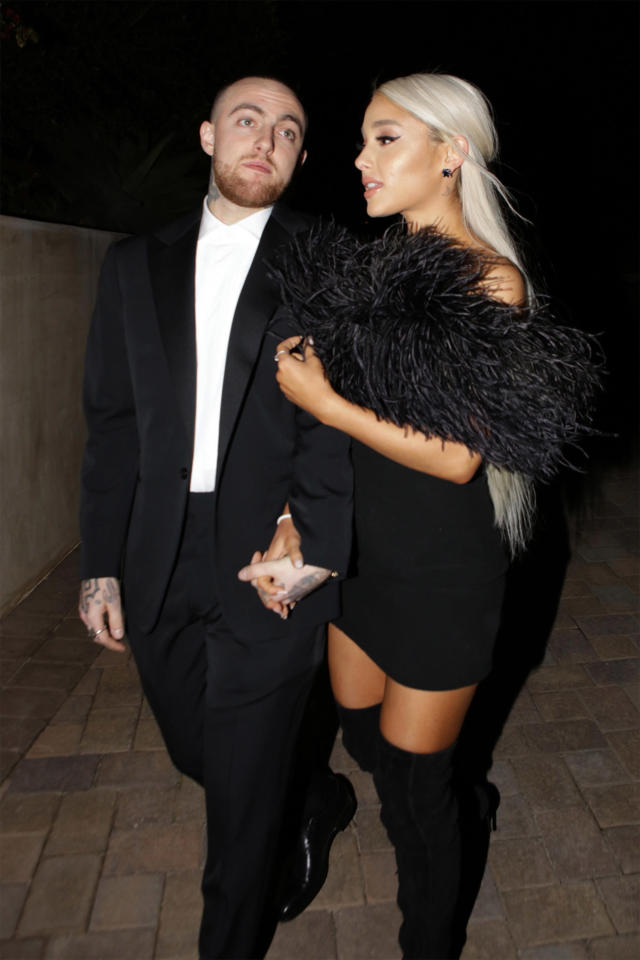 Rapper Mac Miller and singer Ariana Grande attend an Oscar party on March 4 in Los Angeles. (Photo: GC Images)