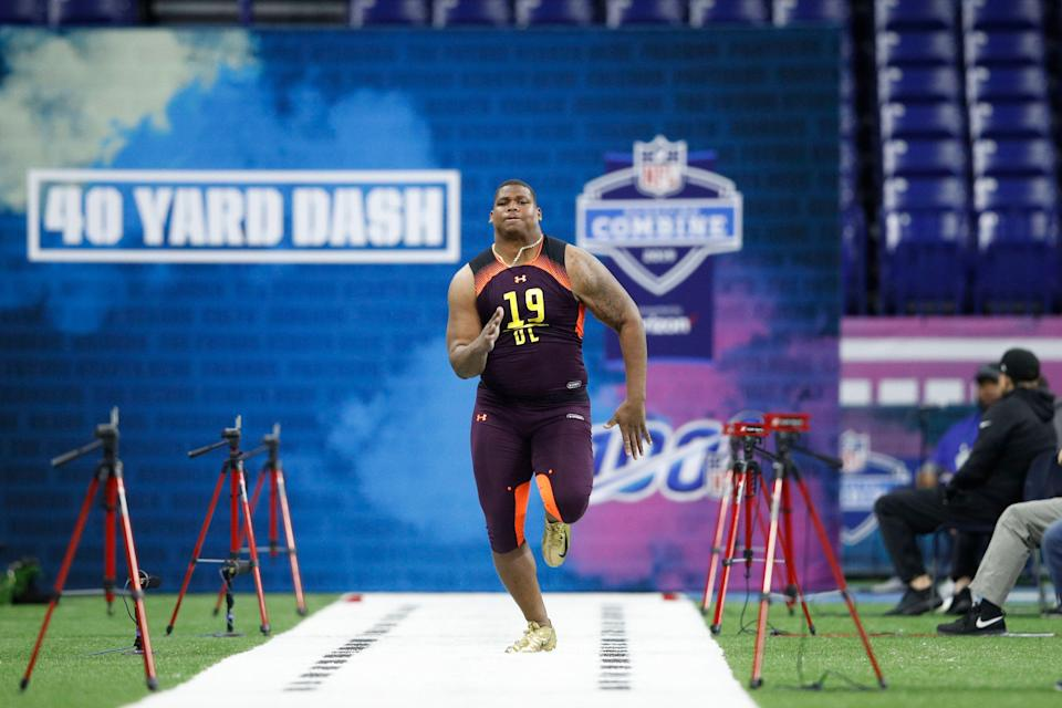 INDIANAPOLIS, IN - MARCH 03: Defensive lineman Quinnen Williams of Alabama runs the 40-yard dash during day four of the NFL Combine at Lucas Oil Stadium on March 3, 2019 in Indianapolis, Indiana. (Photo by Joe Robbins/Getty Images)