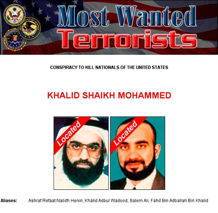This image released by FBI website March 3, 2003, identifies Khalid Sheikh Mohammed as being located.