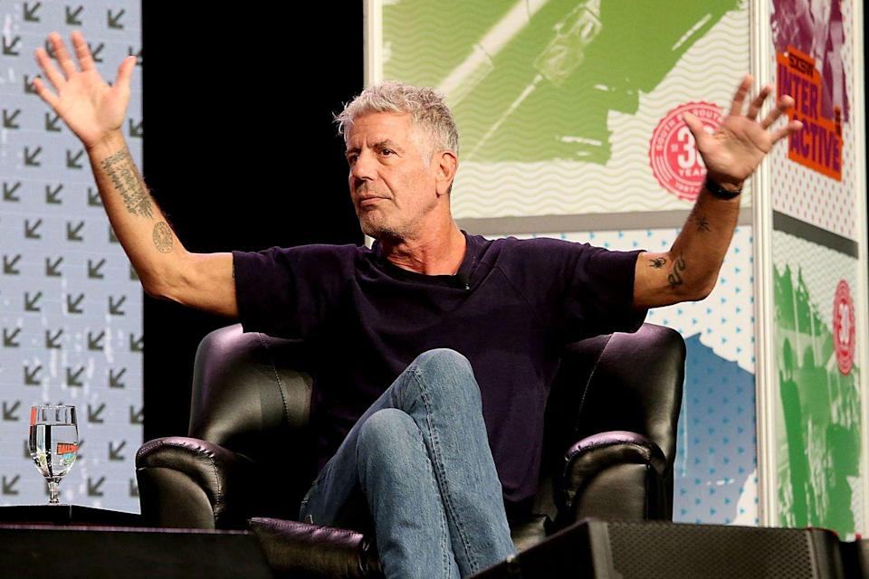 <p>Bourdain has helped produce two movies, <em>Jeremiah Tower: The Last Magnificent</em> and <em>Wasted! The Story of Food Waste. </em>Here, he speaks at the South By Southwest festival in Austin, Texas on March 13, 2016.</p>